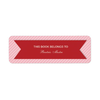 Striped Customizable Bookplates Labels