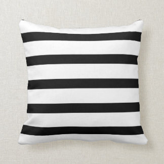 Striped Delight Black and White Throw Pillow