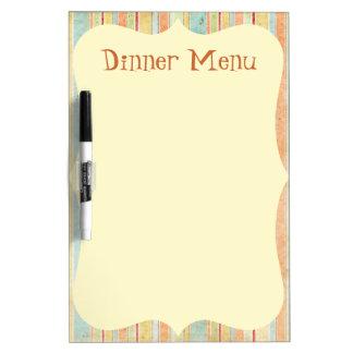 Striped Dinner Menu Dry Erase Board
