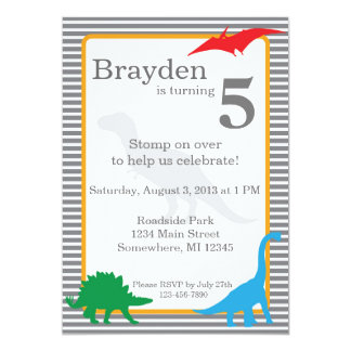 Striped Dinosaur Trex Birthday Invitation