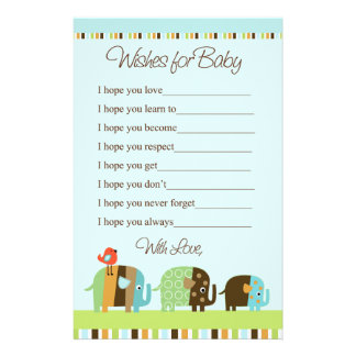 Striped Elephant Stationary Wishes for Baby Stationery