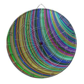 Striped fantasy dartboard with darts