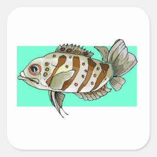 Striped Fish Square Sticker