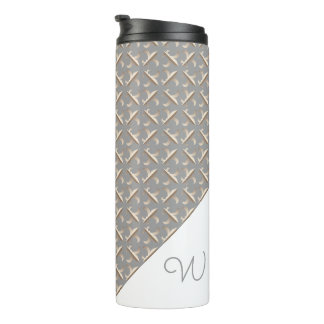 Striped Fleur de lis pattern Monogrammed Thermal Tumbler