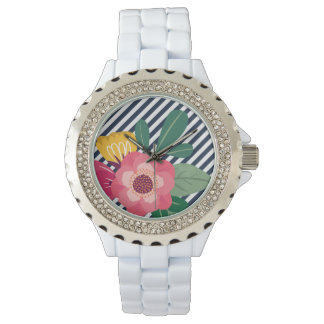 Striped Floral Designer Watch