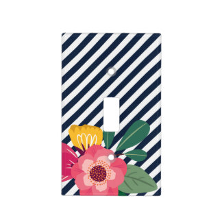 Striped Floral Light Switch Cover