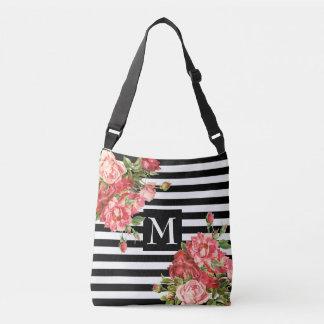 Striped floral monogram crossbody bag