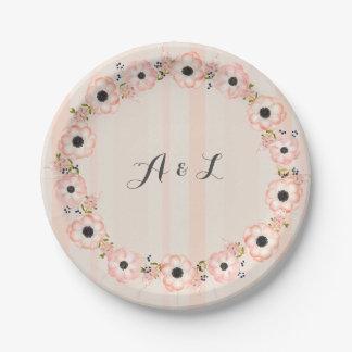 Striped Flower Customizable Monogram Shower Plates