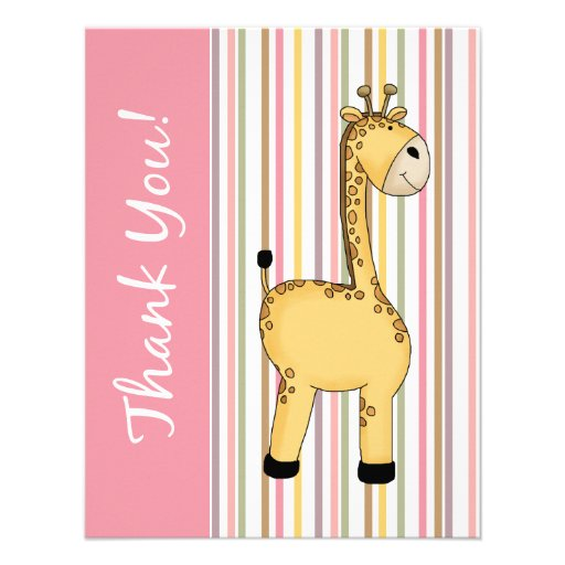 Striped Giraffe Pink Flat Thank You Card. Personalized Invites