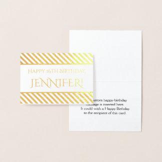 "Striped Gold Foil ""Happy Birthday, Jennifer!"" Card"