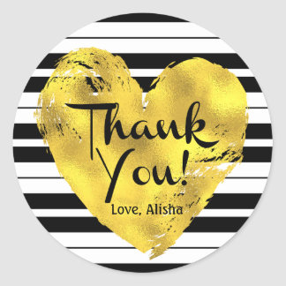 Striped, Gold Heart Thank You Classic Round Sticker
