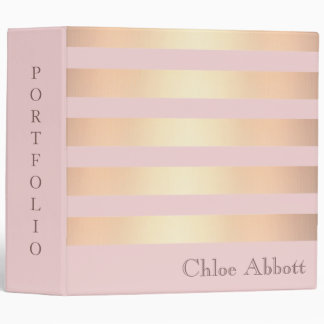 Striped Gold Metallic Design Portfolio Vinyl Binder