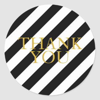 Striped gold thank you stickers