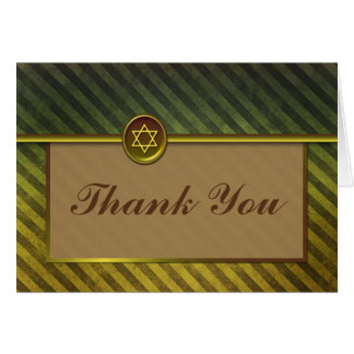 Striped Green and Brown Bar Mitzvah Thank You Card