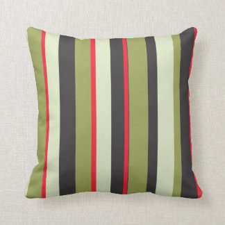 Striped Green, Red, Gray Pattern Throw Pillow