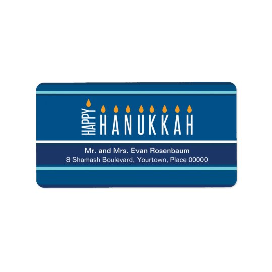 Striped Hanukkah Candles Return Address