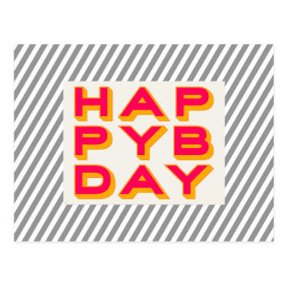 Striped Happy Bday Typography Postcard
