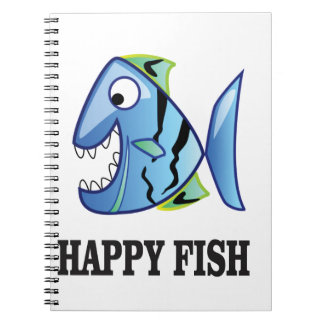 striped happy fish notebook