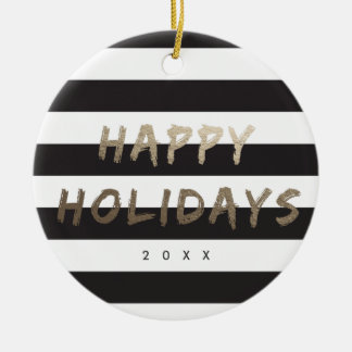 Striped Happy holidays gold faux foil ornament