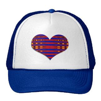 striped heart trucker hat