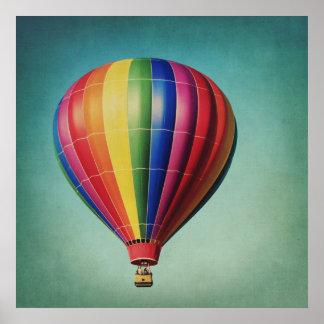 Striped Hot Air Balloon Poster