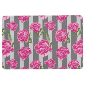 Striped Hot Pink Peony Seamless Pattern Floor Mat