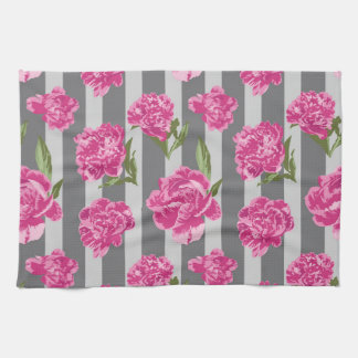 Striped Hot Pink Peony Seamless Pattern Kitchen Towels