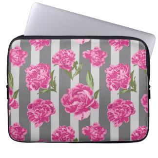 Striped Hot Pink Peony Seamless Pattern Laptop Sleeve