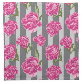 Striped Hot Pink Peony Seamless Pattern Napkin