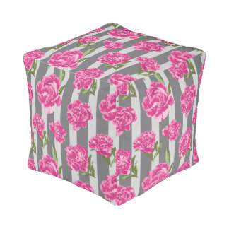 Striped Hot Pink Peony Seamless Pattern Pouf