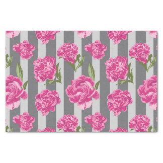 Striped Hot Pink Peony Seamless Pattern Tissue Paper