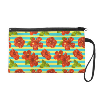 Striped Hot Pink Peony Seamless Pattern Wristlet