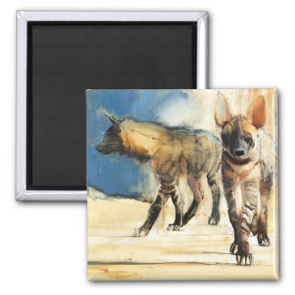 Striped Hyaenas 2010 Square Magnet