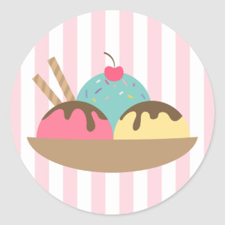 Striped Ice Cream Sundae Round Sticker