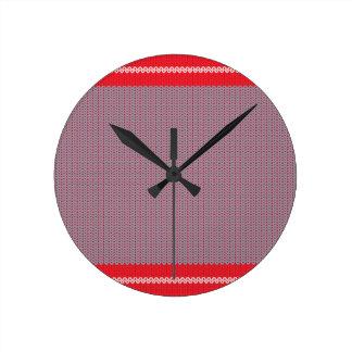 Striped Knitting Background 2 Round Clock