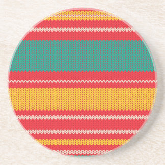 Striped Knitting Background Coaster