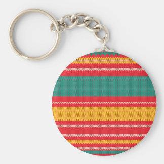 Striped Knitting Background Keychain
