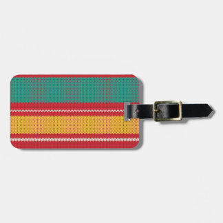 Striped Knitting Background Luggage Tag