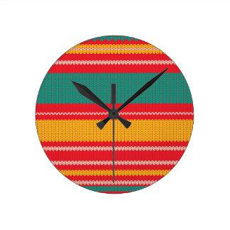 Striped Knitting Background Round Clock