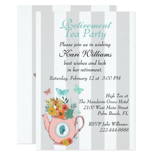 Striped Ladies Retirement Tea Party Invitation