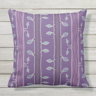 Striped leaves and branches in purple throw pillow