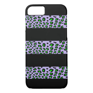 Striped Leopard Print (Customizable Colors) iPhone 7 Case