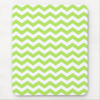Striped Lime Green Chevron Mousepad