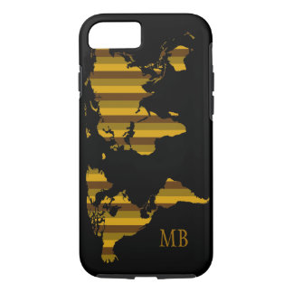 striped map of world with initials iPhone 7 case