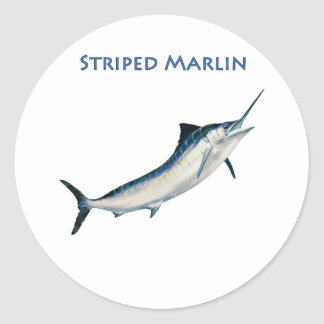 Striped Marlin (titled) Round Sticker
