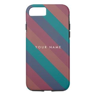 Striped Marsala, Teal, Berry & Blue Custom iPhone 7 Case
