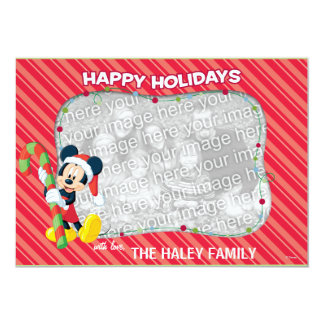 Striped Mickey Mouse Happy Holidays Card