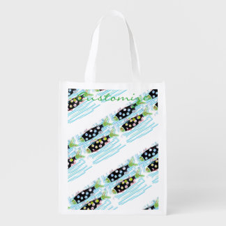 striped migrating fish any color Thunder_Cove Reusable Grocery Bag
