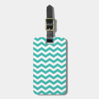 Striped Modern Aqua Chevron Luggage Tag