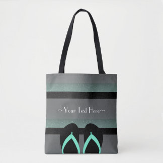 Striped Monogram Sea Mint Green Full Print Tote Bag